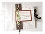 Gästebuch mit Gästefragen in den Farben weiß-seidenmatt, elfenbein, kupfer, dunkelbraun und grün. Ein Hochzeitsgästebuch nach den Wünschen von ڿڰ✿ C.W. - HERZLICHEN DANK!