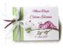 Gästebuch Taufe - Format 21cm x 15cm, in weiß, hellgrün und fuchsia; 64-seitiger Buchblock weiß; mit individuellem Layout bedruckter und folierter Einband. Buchschmuck Bänder und Perle.