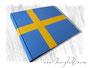 Fotoalbum Schweden - 35cmx25cm, 100 Seiten elfenbeinfarben, Bezugstoff Buchbinderleinen blau und Bibliotheksleinen gelb.