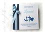 Taufalbum - Fotoalbum 30cm x 30cm, 50 Blatt weiß mit Pergaminzwischenlagen, in den Farben dunkelblau, weiß und hellblau.