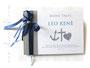 Gästebuch zur Taufe - Glaube Liebe Hoffnung - Format 21cm x 15cm, in weiß, steingrau und aquablau; mit Druck persönlicher Daten und den Symbolen Anker, Kreuz und Herz.