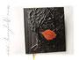 Kondolenzbuch -Der Baum des Lebens- mit Reliefeinband in schwarz und kupferfarbener Blatt-Applikation.