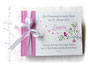 Foto-Gästebuch Taufe - 21cmx16cm, 20 Blatt weiß, mit individueller Grafik (persönliche Daten, Vogel im Baum, Herzen) bedruckter Einband, in den Farben weiß, pink und hellgrau.