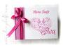 Foto-Gästebuch zur Taufe - 21cmx16cm, 20 Blatt weiß, mit individueller Grafik (diverse Taufsymbole in Herzform) bedruckter Einband und Druck des Taufspruches im Buch, in den Farben weiß, pink und rosé.