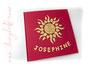 Taufalbum - 24cmx24cm, 60 Seiten elfenbeinfarben, Bezugstoff: Buchbinderleinen rot, Buchschmuck gelb: Applikation Sonne und Namen.