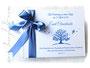 Foto-Gästebuch Taufe Baum des Lebens weiß aquablau selbst gestalten