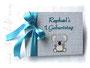 Foto-Gästebuch zum 1.Geburtstag - 21cmx16cm, 20 Blatt weiß, Einband weiß und hellgrau/meliert, Einbandgestaltung Koala und Beschriftung Name in Form von Applikationen.