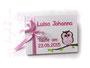 Gästebuch in weiß, rose und pink - Taufgästebuch in Wunschfarben mit Namen, Glücks- oder Taufsymbol und Druck des Taufspruches auf Seite 1.