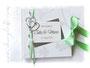Fotogästebuch zur Hochzeit in weiß, grün und silberfarben, mit Perlen, Bändern, Herzen und Coverdruck.