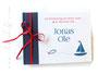 FotoGästebuch Taufe in rot, weiß und dunkelblau; mit Taufsymbol Anker, Fisch und Boot, sowie Namen, Datum der Taufe und Taufspruch. Format 21cmx15cm, 20 Blatt weiß und rote Schleife.