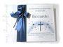 Fotoalbum zur Taufe - 30cm x 30cm, 50 Blatt weiß mit Pergaminzwischenlagen, in den Farben dunkelblau, weiß und aquablau. Taufsymbole: Herzen, Kreuz, Sonne.