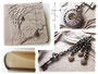 Cremefarbenes Fotoalbum:  Einband und Buchblock. Kupferfarbener Buchschmuck: Taschenuhr, Herzen, Schlüssel, Buchecken. Reliefs: Baum des Lebens, Name, Zeitleiste.