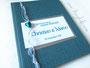 Hochzeitsgästebuch - Nadelstreifen für die Herren; Farben: petrol, silber und weiß.