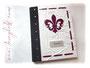 """Großes Gästebuch """"Lilie"""" - Hardcover-Einband bezogen mit einem Materialmix aus Nappa-Velour-Lederimitat naturweiss sowie schwarzem und dunkelroten EchtLeder. Format 25cm x 32cm. Fadengehefteter Buchblock 180 Seiten. Metallschild mit Gravur. DANKE ڿڰ✿ Y.K."""