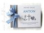 Foto-Gästebuch - 21cmx16cm, 20 Blatt weiß, mit individueller Grafik (Name, Anker, Kreuz, Herzen) bedruckter Einband in den Farben weiß, hellgrau und blau.