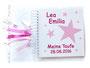 Fotoalbum zur Taufe in den Farben weiß, rosa und pink; mit Namen, Sternen und Druck Taufspruch im Inneren des Albums.