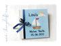 Maritimes Taufalbum - Fotoalbum zur Taufe mit Boot, Sonne, Wolke und Möwen, sowie Einbandbeschriftung.