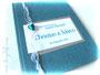Hochzeitsgästebuch in weiß, silber- und petrolfarben. Coverdruck mit persönlichen Daten und im Inneren Drucke von individuellen Gästefragen. DANKE an S.W.