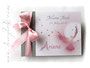 Foto-Gästebuch - 21cmx16cm, 20 Blatt weiß, mit individueller Grafik (Taube, Sonne, Herzen) bedruckter Einband in den Farben weiß, hellgrau, rosa und altrosa.