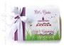 Foto-Gästebuch zum Geburtstag - 21cmx16cm, 35 Blatt weiß, mit Namen und Geburtstagstorte auf Wiese bedruckter Einband, in den Farben weiß und pink-pflaume..