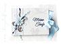 Kleines Gästebuch in den Farben weiß, hell- und dunkelblau sowie silberfarben. Individueller Buchschmuck zu jedem Anlass.