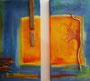 Orange/Türkis zweiteilig, 60cm x 60cm, Mischtechnik Acryl, Pastelle, Treibholz, verkauft
