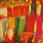 Farbkomposition, 44cm x 44cm, Acryl mit vergoldeten Kürbiskernen