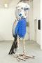Kiki, Birkenstämme, Autoreifen, Kunststoffe, Textilien, Schrauben, Lackfarbe, 255 x 115 x 145 cm, 2015