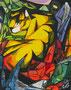 Tiger,Hommage an Franz Marc,Collage-Mischtechnik,50x40,2013