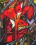 Füchse nach Franz Marc,Collage-Mischtechnik,50x40,2012(verkauft)