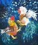 Hahnenkampf,Acryl gespachtelt,60x50,2011 (verkauft)