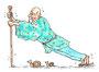 「老人と杖」