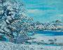 記憶のかけら_池 / 2014 / キャンバス、アクリル、ジェッソ、メディウム / 220×273 mm
