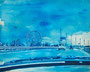 記憶のかけら_ハイウェイ / 2014 / キャンバス、アクリル、ジェッソ、メディウム / 220×273 mm