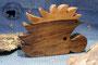 Holzdesign Igel aus dunklem Nussbaumholz - Rückseite