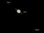Saturn, Rhea, Dione & Iapetus am 17.03.2009, Celestron C9.25 auf CG5-GT, DMK 21AU04.AS, Luminanz (1/11 sec): 60 aus 2000 Bilder (640x480), RGB (1/15 sec): 3 x 60 aus 2000 Bilder (640x480), Überlagerung mit hochbelichteter Monochromaufnahme