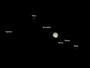 Saturn, Titan, Iapetus, Encelade, Dione, Tethys & Rhea am 29.05.2009, Celestron C9.25 auf CG5-GT, DMK 21AU04.AS, L: (1/30 sec & 1/5sec): 300 aus 10000 Bilder (640x480), RGB vom 12.05.2009, L-RGB