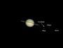 Saturn mit Rhea, Enceladus, Tethys & Dione am 12.05.2009, Celestron C9.25 auf CG5-GT, DMK 21AU04.AS, 2x Barlowlinse, Luminanz (W32-Filter: 1/30 sec): 2000 aus 10000 Bilder (640x480), RGB mit SPC900NC (640x480)