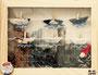 Luftschiffe Papier Wäscheklammern Schnur Figur auf Foto unter Glas 2015 Preis 25,- € plus Porto