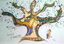Liebesbaum (nach Nici de Saint Phalle) / 29,5x19,5cm