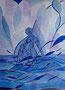 Frau in blausilberner kalter Welt / 30x40cm