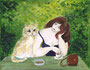 Träumende Frau mit Katze / 24x19cm