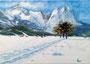 Garmisch im Schnee / 24x17cm