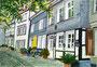 Kirchplatz in Hattingens Altstadt (aquarellierte Tuschezeichnung) / 29,5x20,5cm