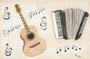 Gitarre und Akkordeon / 29x19cm