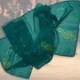 21.) Musikschal mit Notenschlüssel grün - Feld Textil GmbH aus Krefeld - https://www.krawatten-tuecher-schals-werbetextilien.de/
