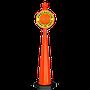 •Señal informativa con o sin luz •Color naranja o amarillo •Letrero con fondo de reflejante grado ingeniería y letras en vínil opaco •Remate en forma de esfera •Con letrero •La señal llama la atención de los conductores •Base 34 cm ancho, Alto 150cm