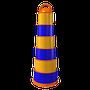 •Fabricado en polietileno media densidad •Base pesada, resistente a fuertes vientos •Con o sin reflejante grado ingeniería o alta intensidad (3 o 6 franjas) •Base desmontable •Diámetro de base 50cm, diámetro inferior área reflejante 34cm, alto 117cm