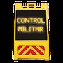 Caballete alimentado 8 baterias D •Textos formados por conjuntos de diodos, colores, rojos, ambar, verdes, blancos o azules •Protector de policarbonato •Interruptor manual y fotocelda para encendido y apagado automático •Reflejante en la parte inferior o