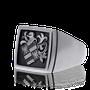 Wappenring ind Weissgold, Klassik-Cushion Form mit Wappen von Kunde.